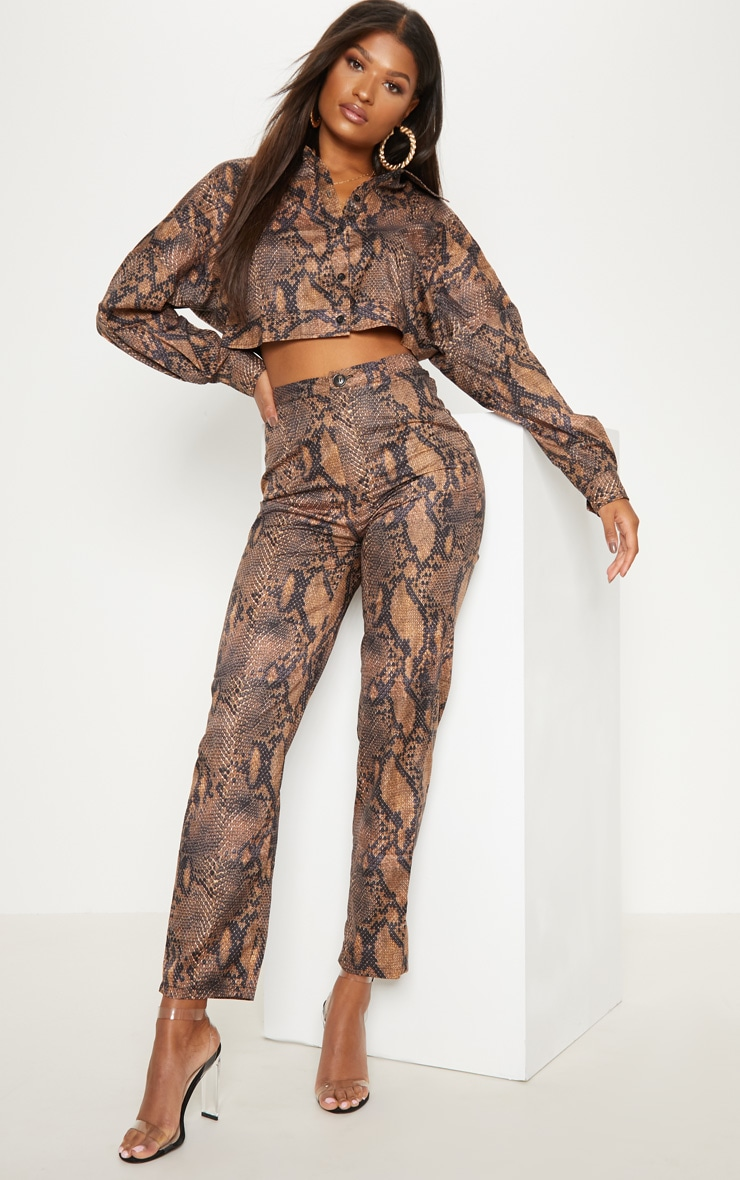 Brown Snake Print Straight Leg Pants 1