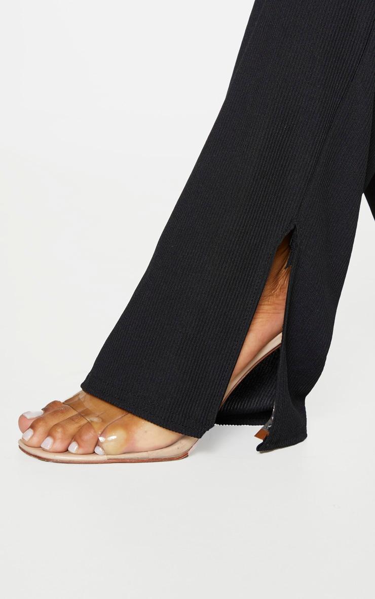Plus Black Ribbed Skinny Split Hem Pants 5