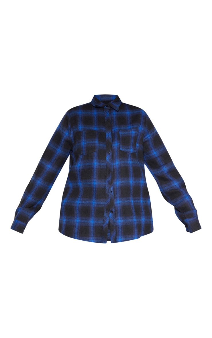 Plus Navy Tartan Oversized Shirt  3