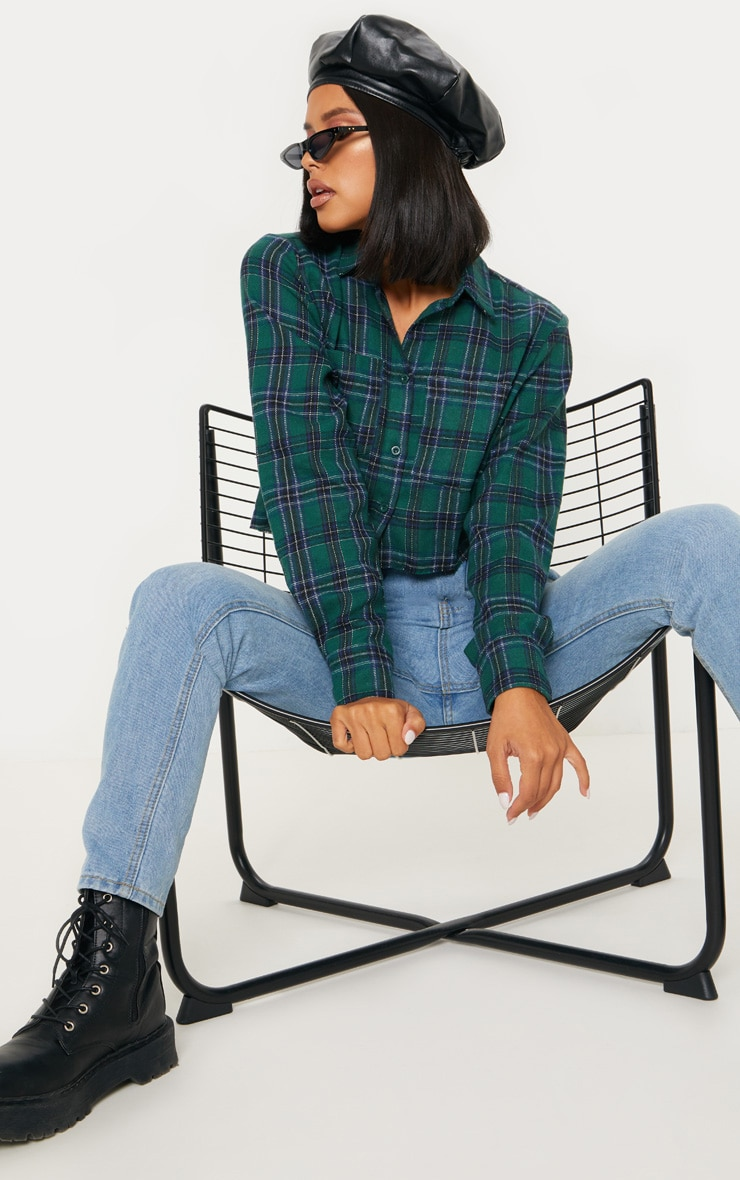Green Crop Check Shirt 1