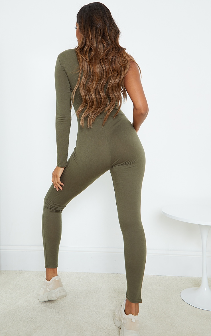 Khaki Asymmetric High Neck Jumpsuit 2