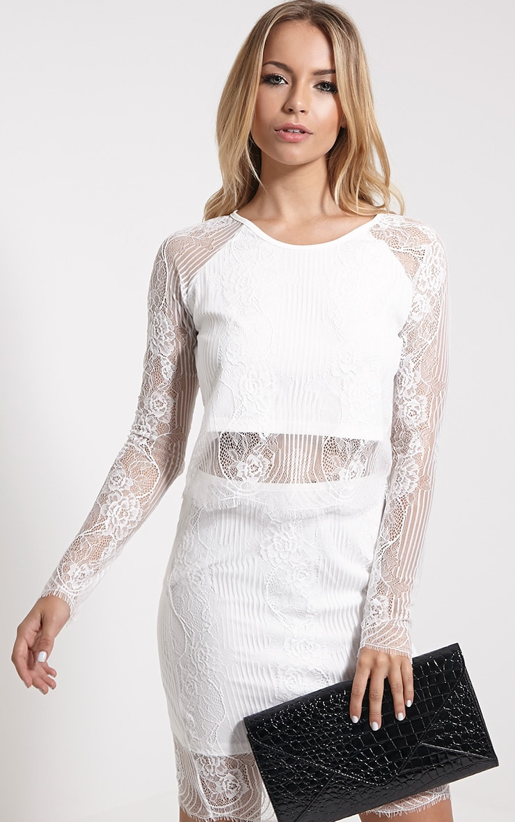 Luisa White Lace Long Sleeve Top 1