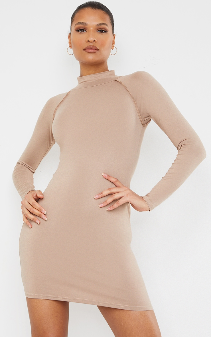 Taupe Long Sleeve Contrast Stitch Armhole Bodycon Dress 1