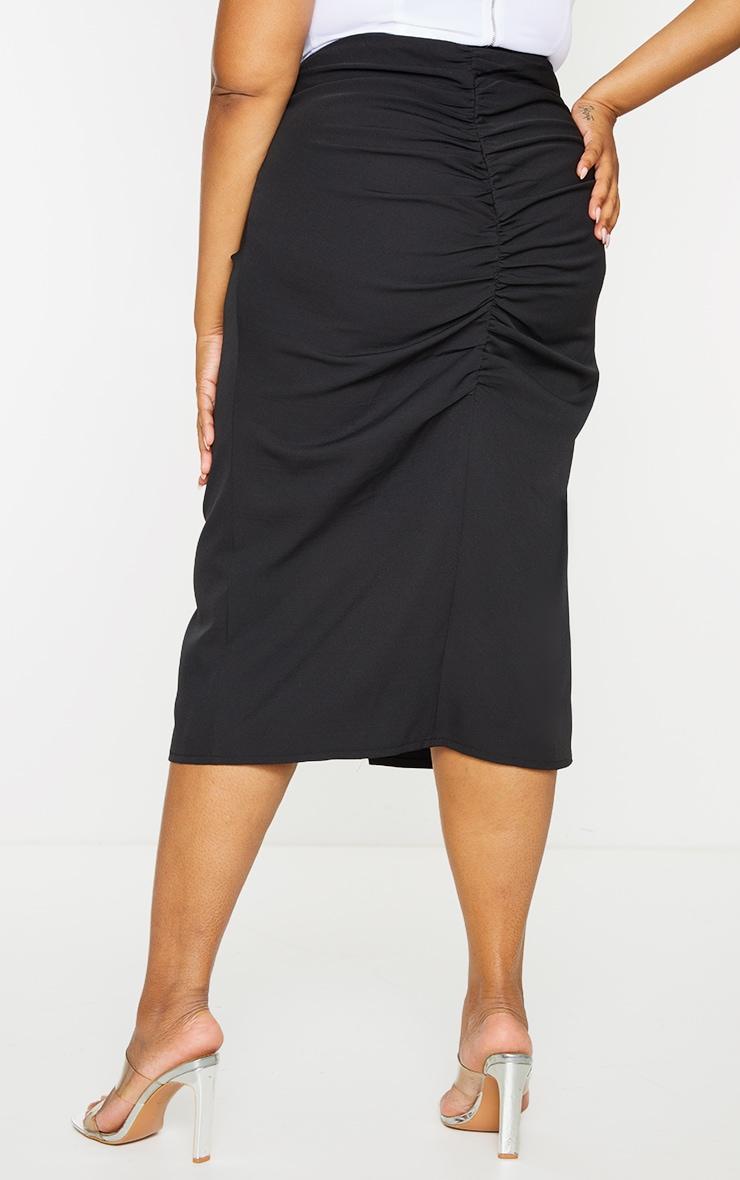 Plus Black Ruched Detail Split Skirt 3
