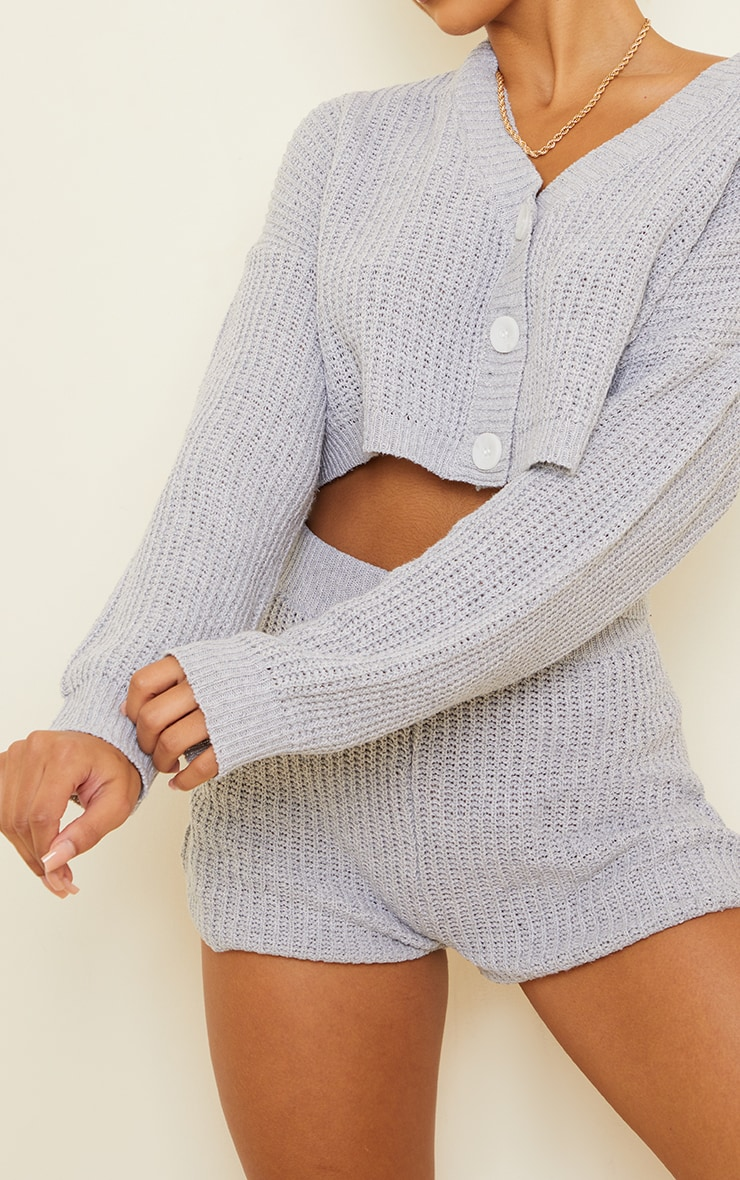 Grey Button Up Ribbed Knitted Short Lounge Set 4