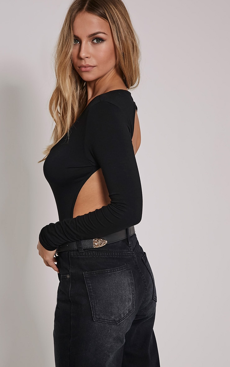 Basic Black Backless Jersey Bodysuit 1