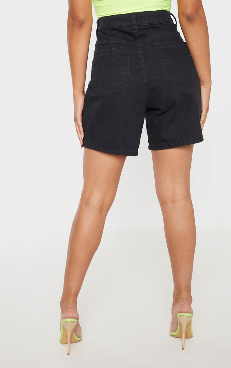 Petite Black Mom Denim Shorts  4