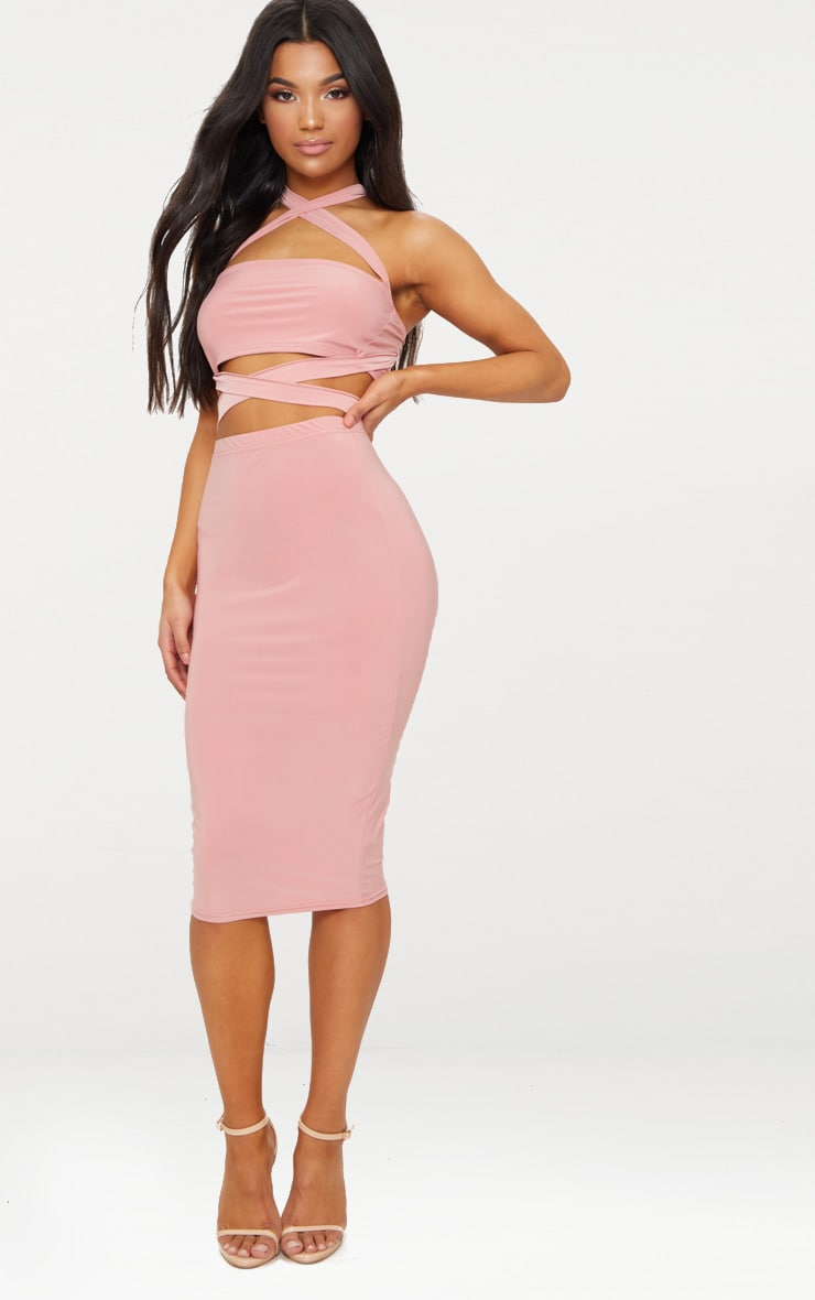 Rose Slinky Midi Skirt