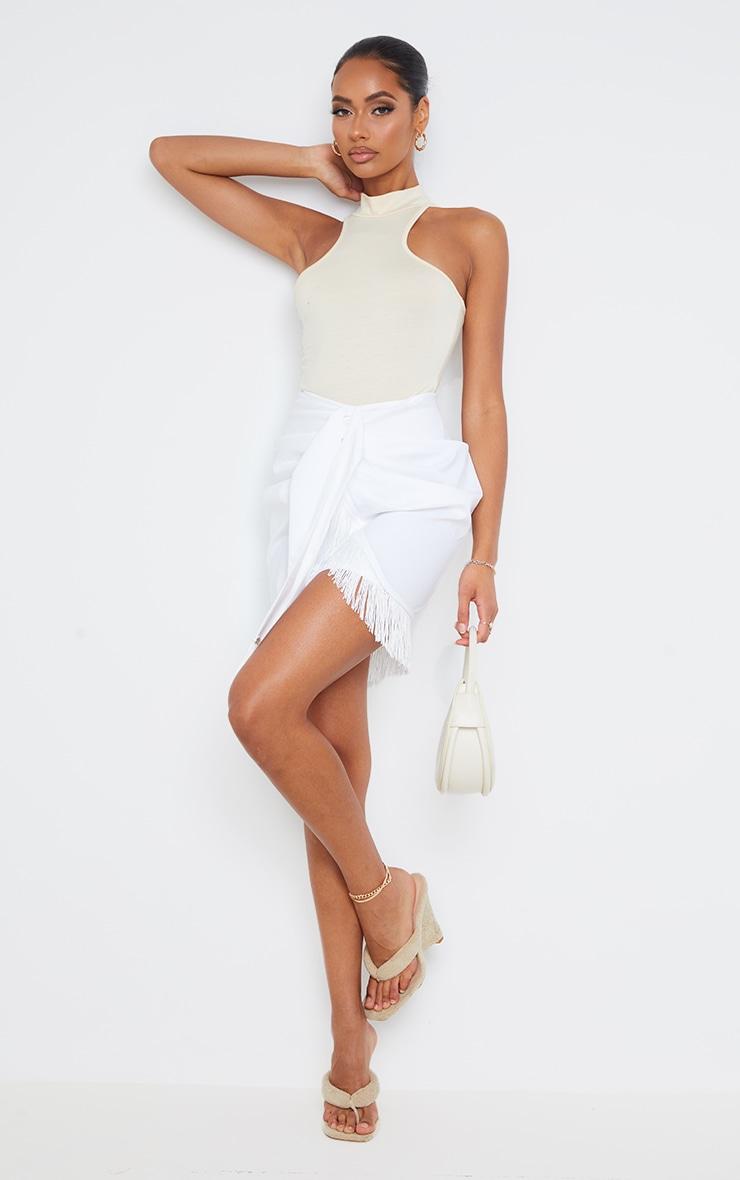 White Woven Tassel Tie Waist Wrap Skirt 1