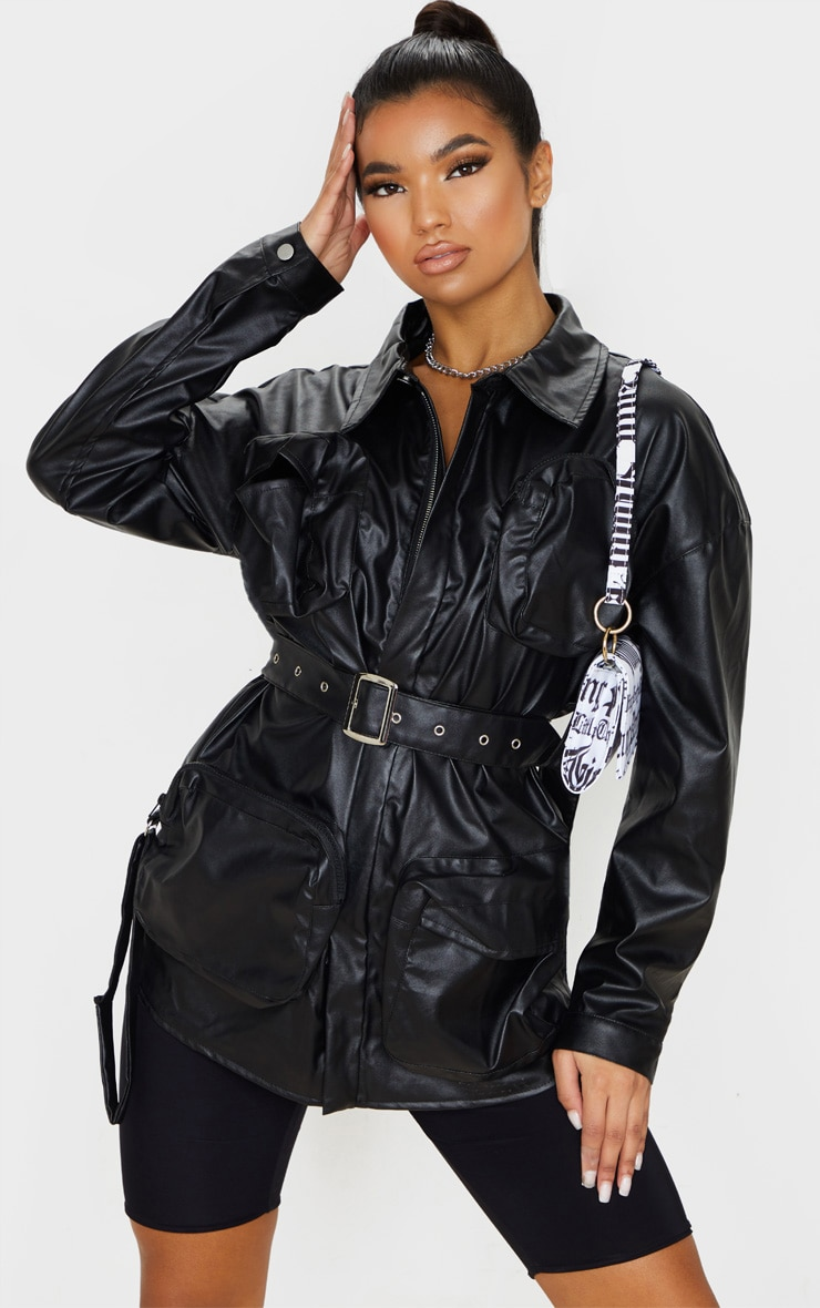 Black Faux Leather Utility Pocket Belted Jacket 5