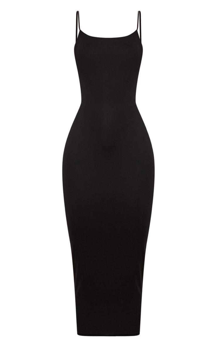 Black Straight Neck Strappy Back Midaxi Dress 3