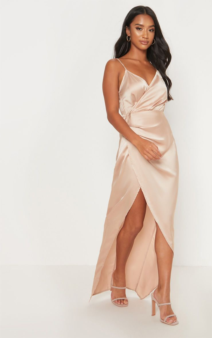 Petite Champagne Satin Wrap Detail Maxi Dress 1