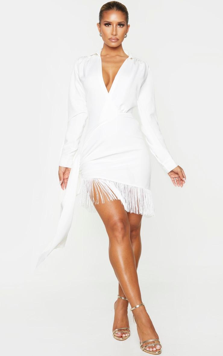 White Long Sleeve Tassel Hem Drape Detail Bodycon Dress 1