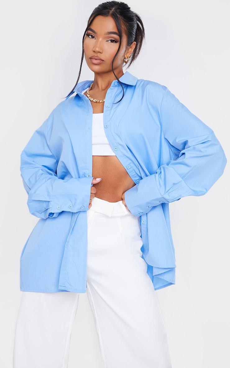 Cornflower Blue Oversized Cuff Shirt 1