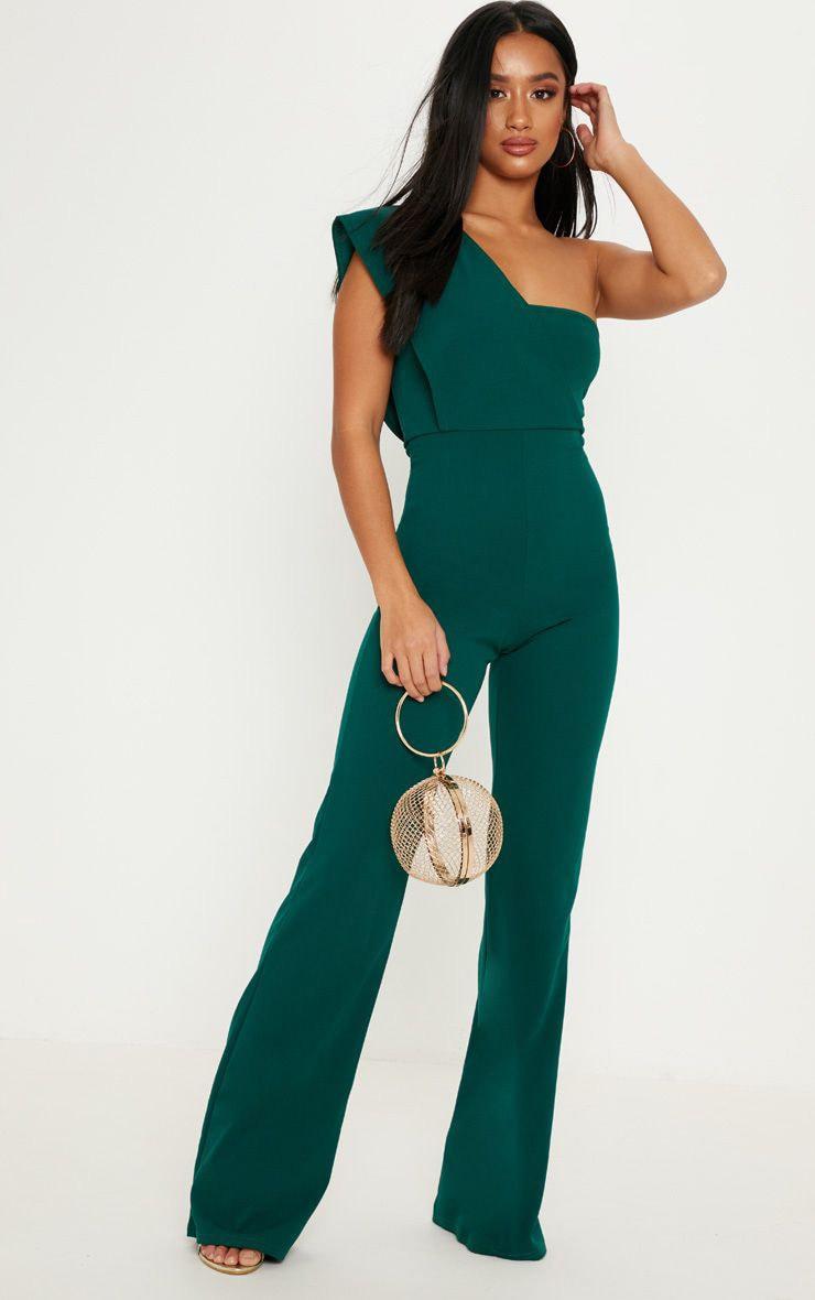 Petite Emerald Green Drape One Shoulder Jumpsuit 1