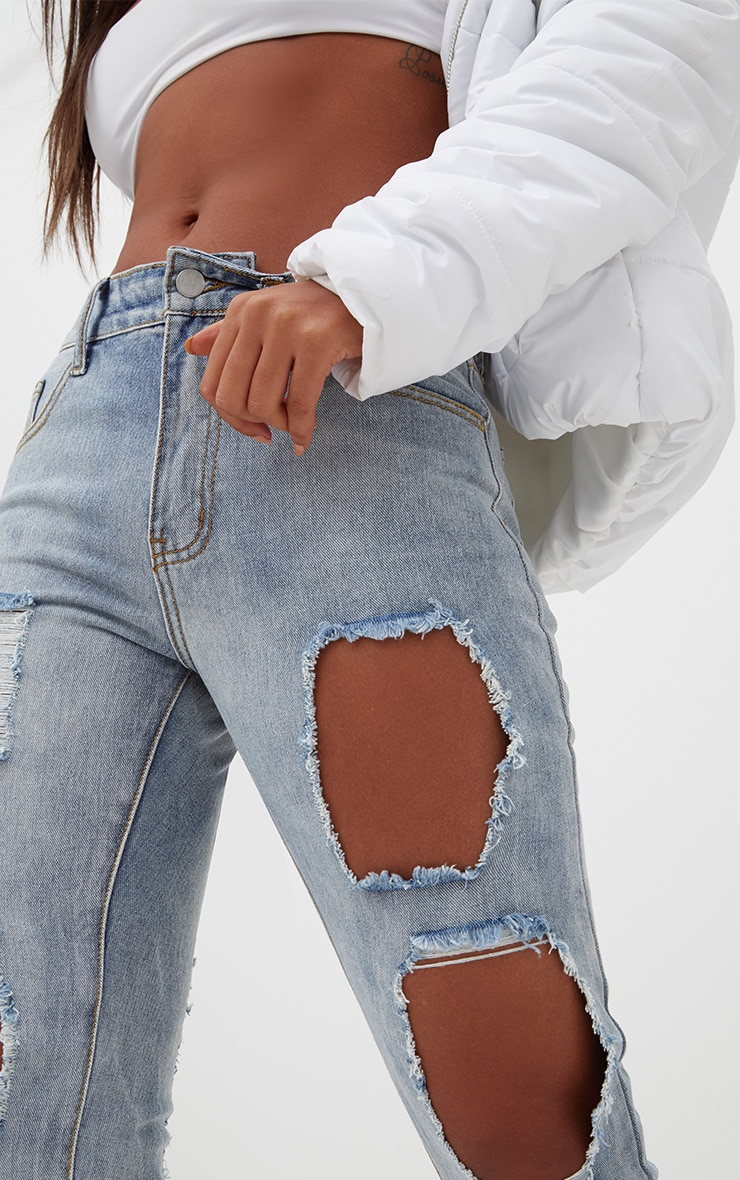 Light Wash Front & Back Distressed Rip Mom Jean 5