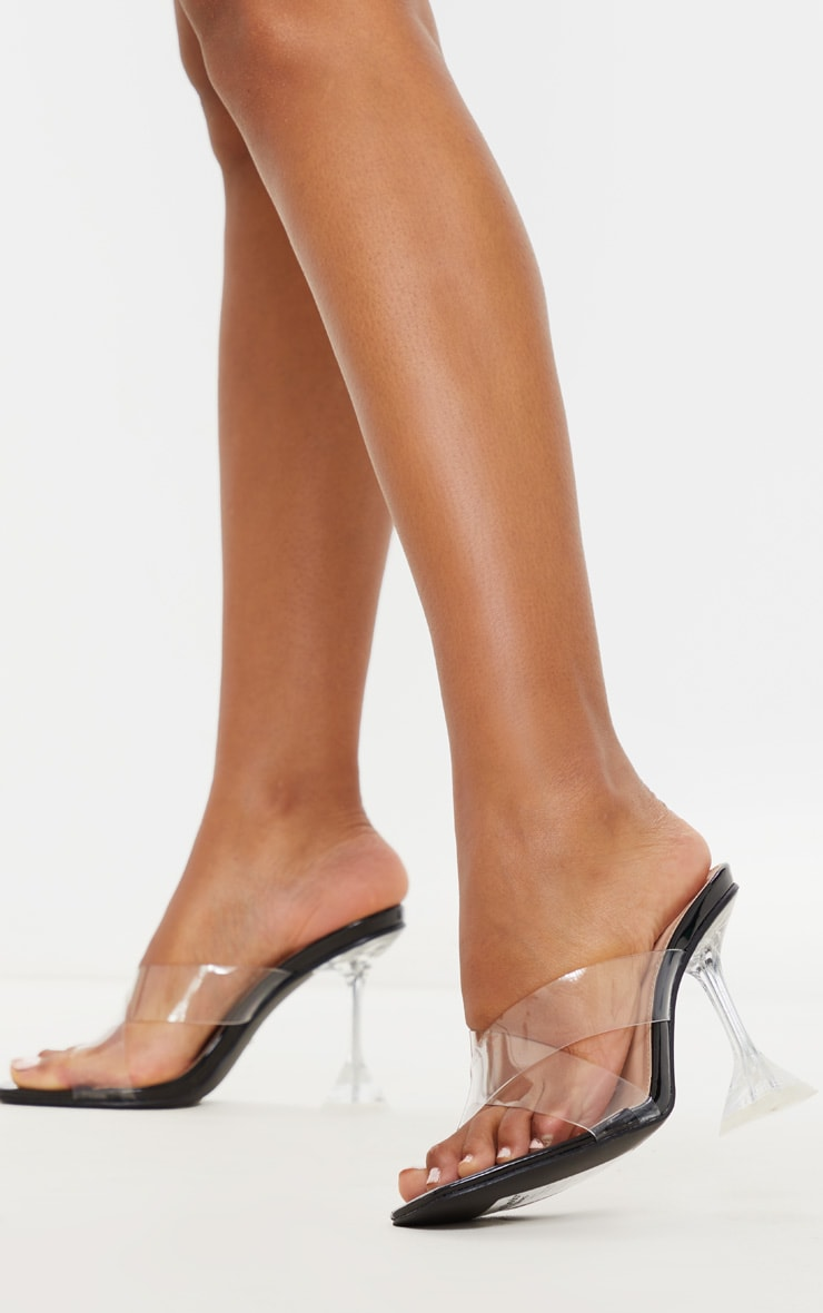 Black Cross Strap Clear Mule Sandals 2