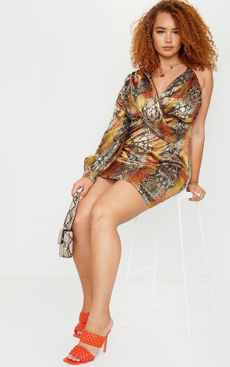 Plus Brown Satin Snake Print One Sleeve Twist Dress 1