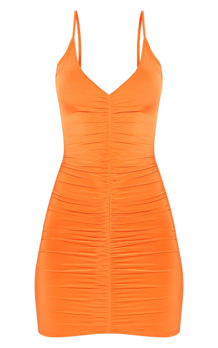 Bright Orange Slinky Ruched Scoop Back Bodycon Dress 3
