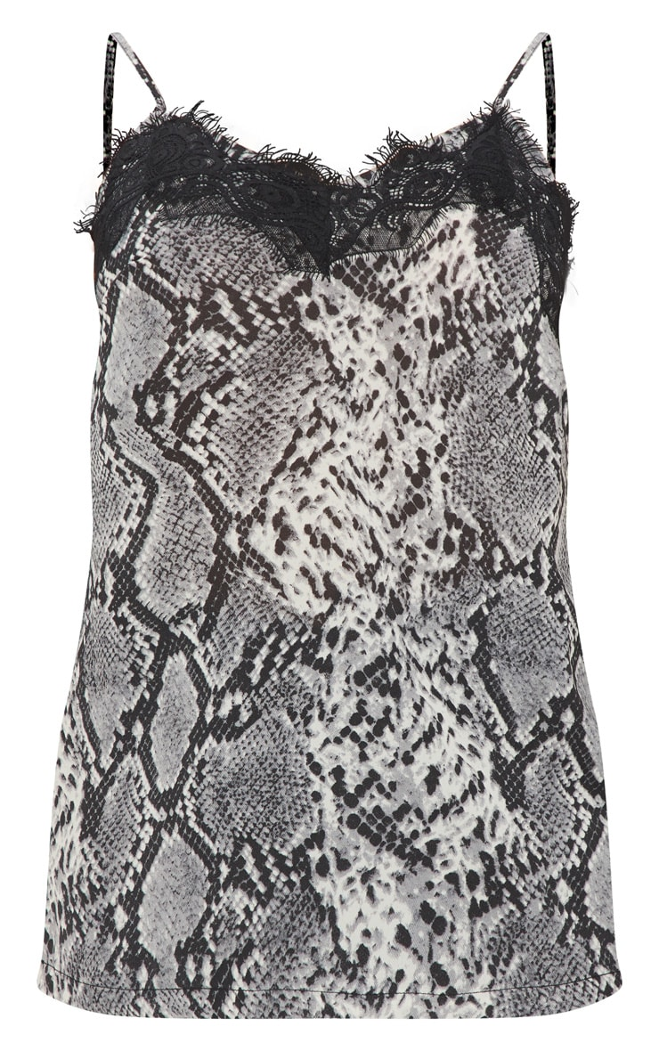 Petite Grey Snake Print Satin Lace Trim Cami Top 3