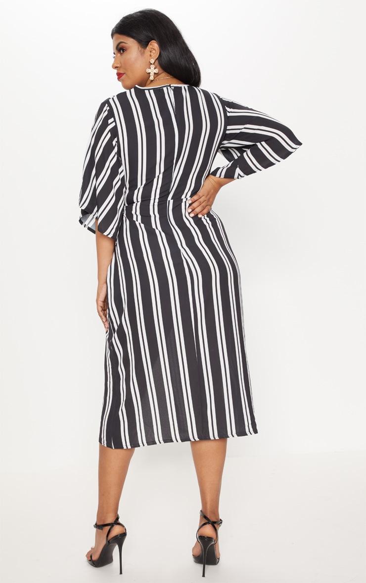 Plus Black Striped Kimono Midi Dress 2