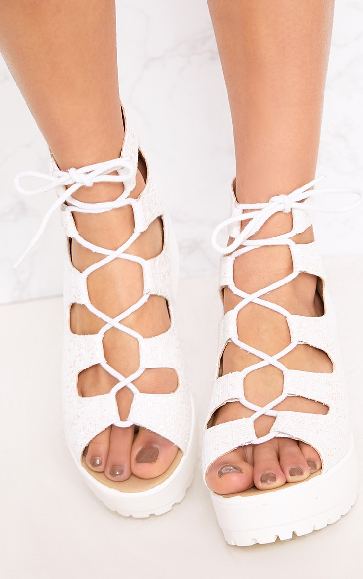 Caprice White Metallic Lace Up Sandals 5