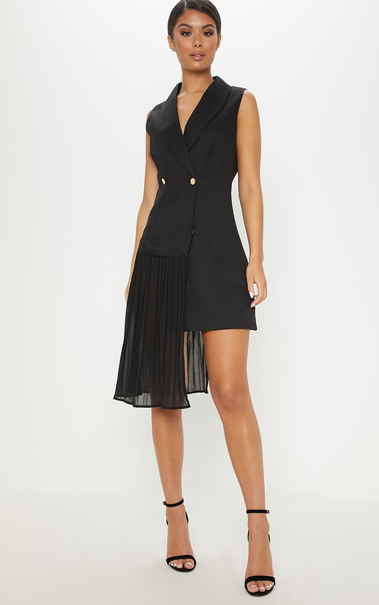 Black Pleated Drape Detail Waistcoat Dress by Prettylittlething