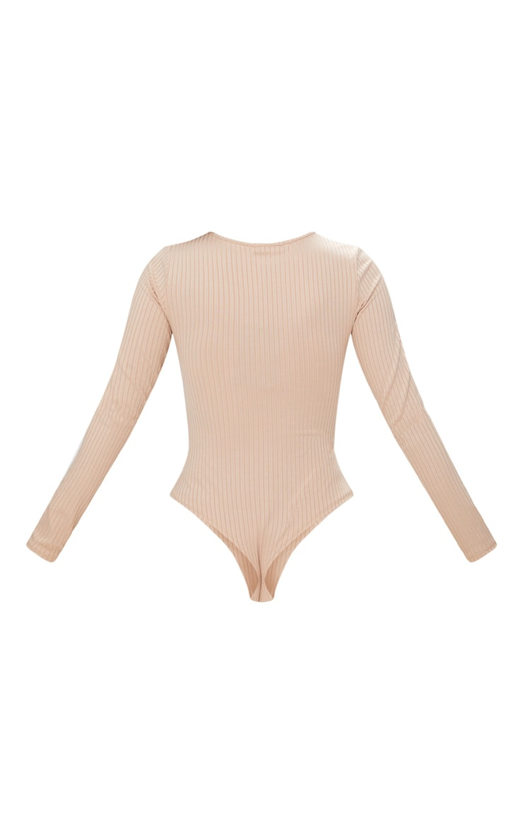 Nude Rib Cut Out Front Long Sleeve Thong Bodysuit 4