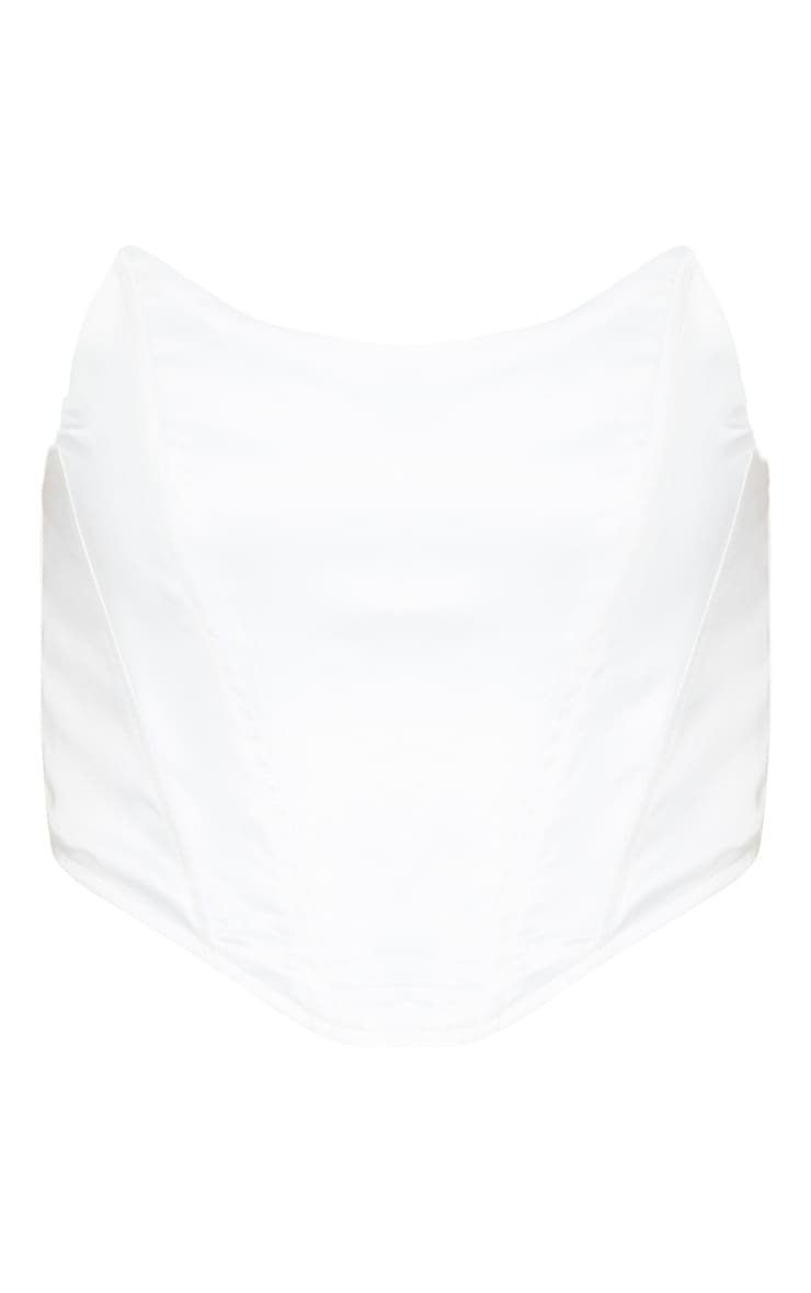 White Satin Pointed Hem Bandeau Corset  3