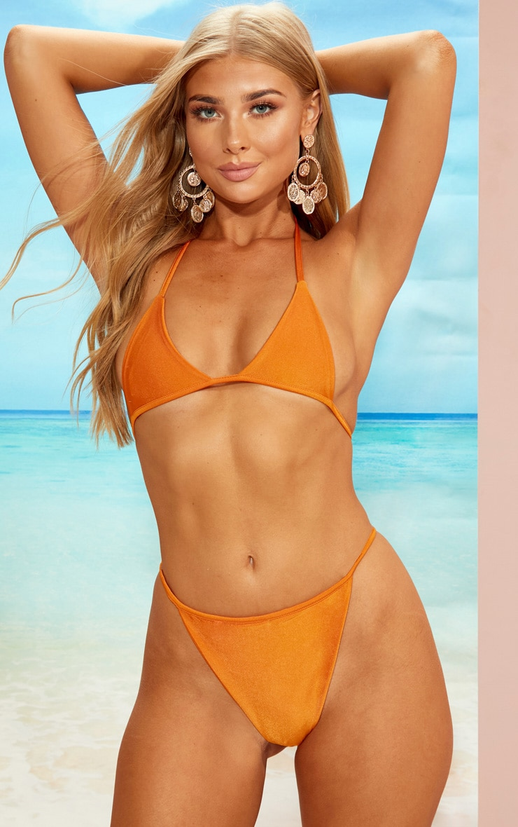 Orange Minimal Triangle Bikini Set 1