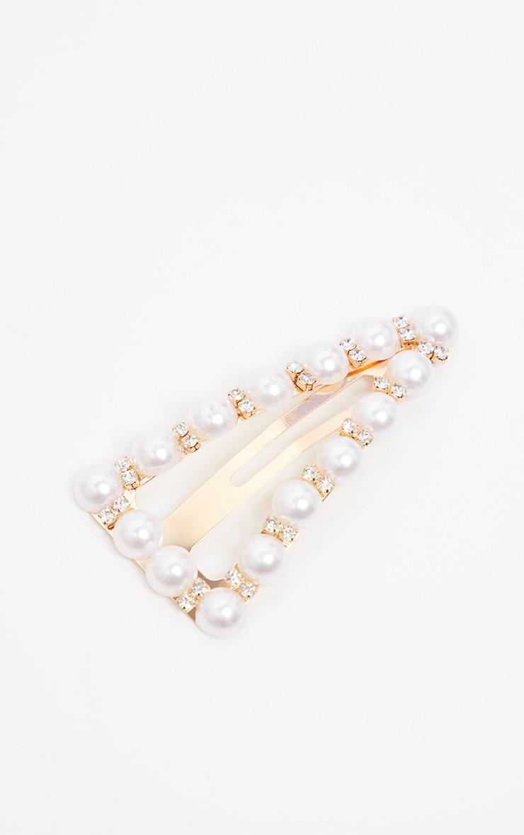 Gold Triangle Pearl Hair Clip 2