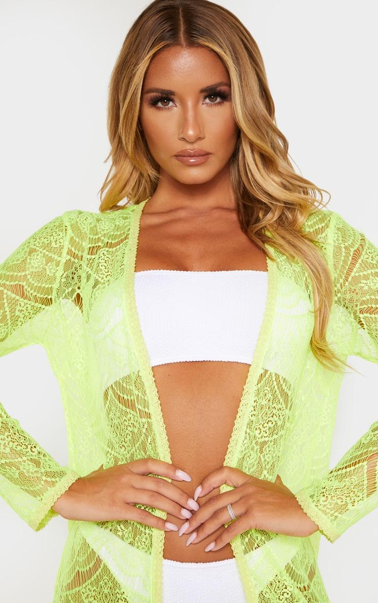 Kimono long en dentelle jaune fluo 5