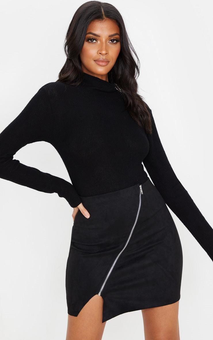Black Faux Suede Zip Detail A Line Skirt 1