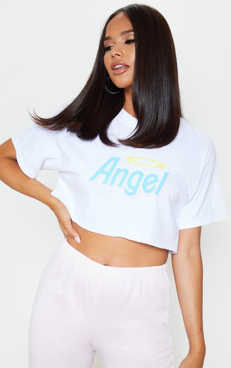 White Angel Slogan Crop T Shirt 1