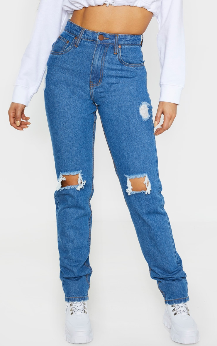 Tall Mid Wash Rip Knee Mom Jean 2