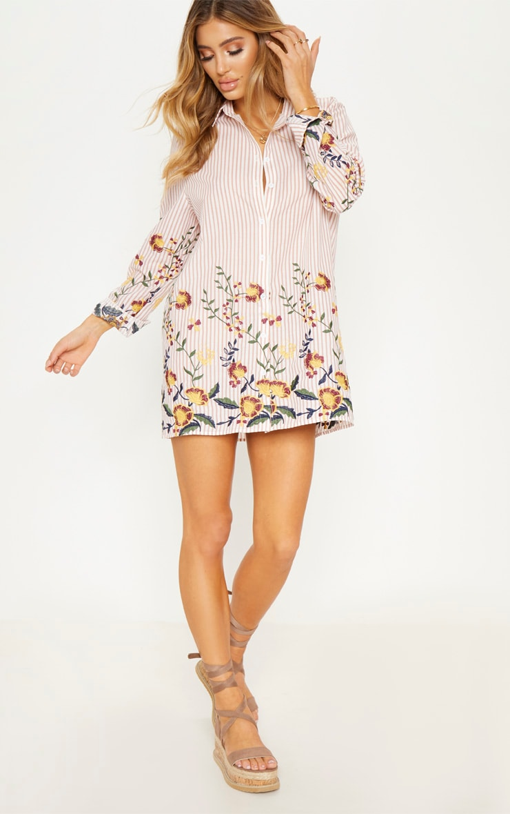 Nude Embroidered Stripe Print Shirt Dress 5