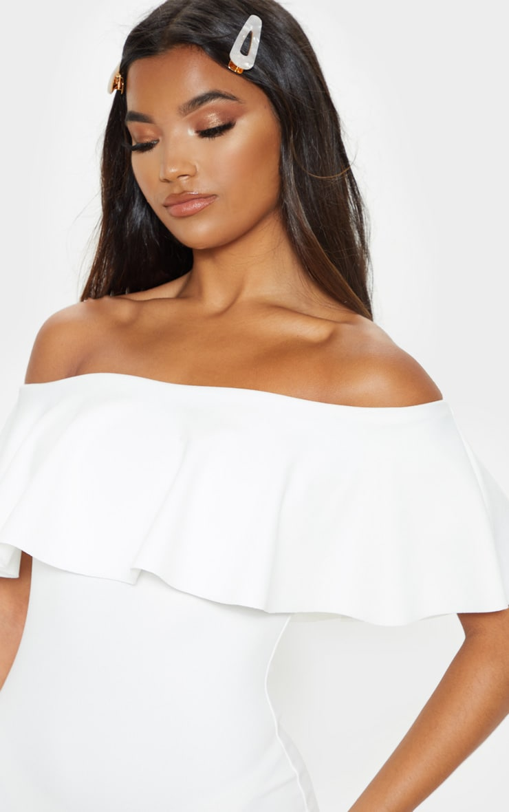 Celinea White Bardot Frill Midi Dress 5