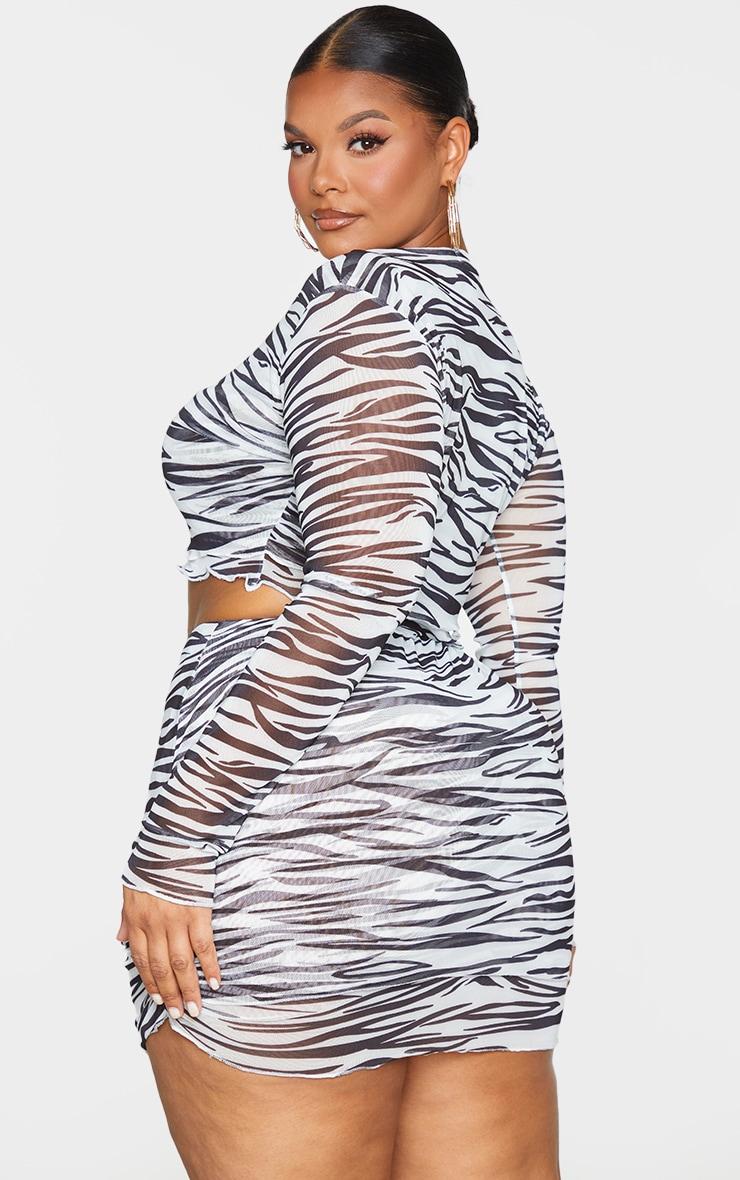 Plus Black Zebra Print Mesh Layered Crop Top 2