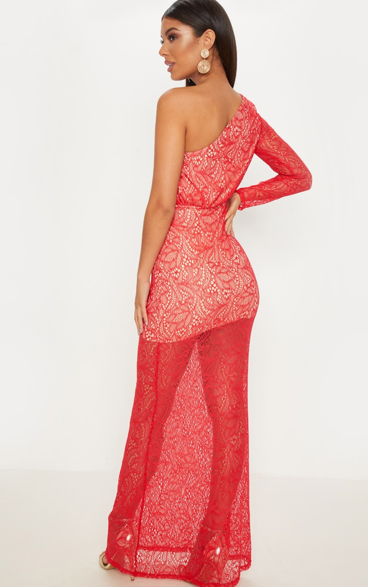 Red Lace One Shoulder Fishtail Maxi Dress 2