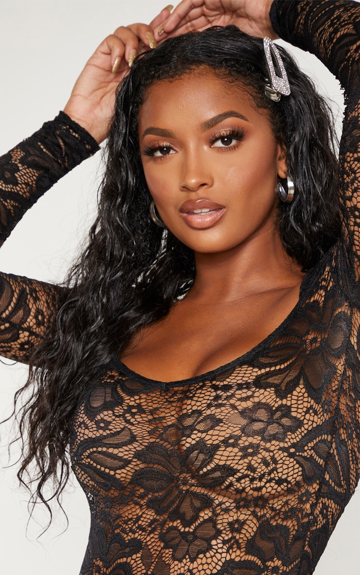 Shape Black Lace V Neck Long Sleeve Bodysuit 5