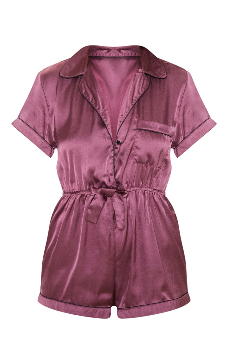 Berry Button Front Satin Romper 3