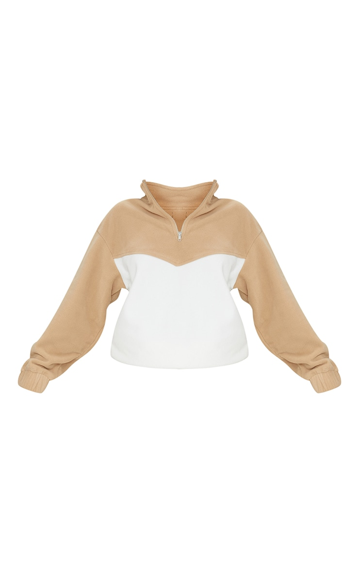Camel Borg Contrast Panel Half Zip Sweatshirt 5