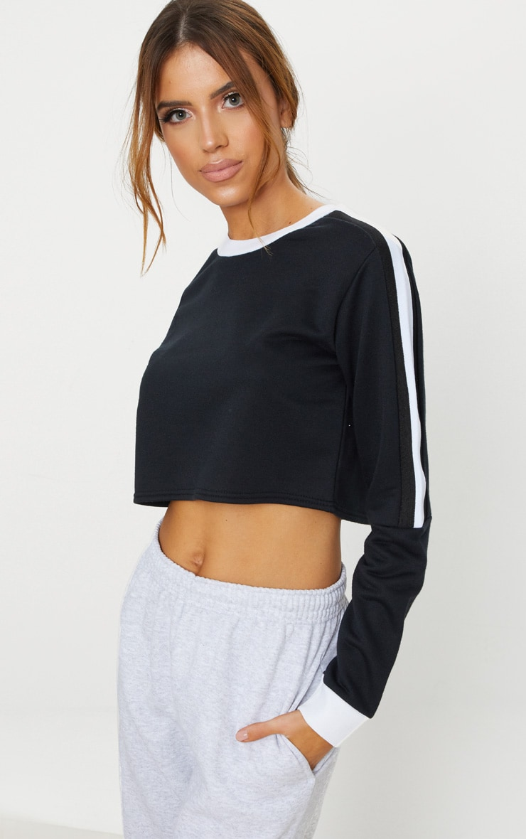 Black Triple Shoulder Stripe Crop Sweater  4