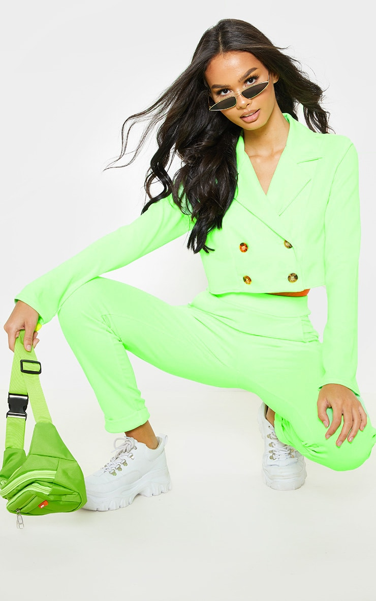 Neon Green Cropped Suit Blazer  1