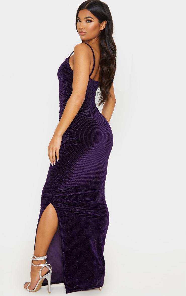 Purple Velvet Glitter Stripe Ruched Midaxi Dress 2