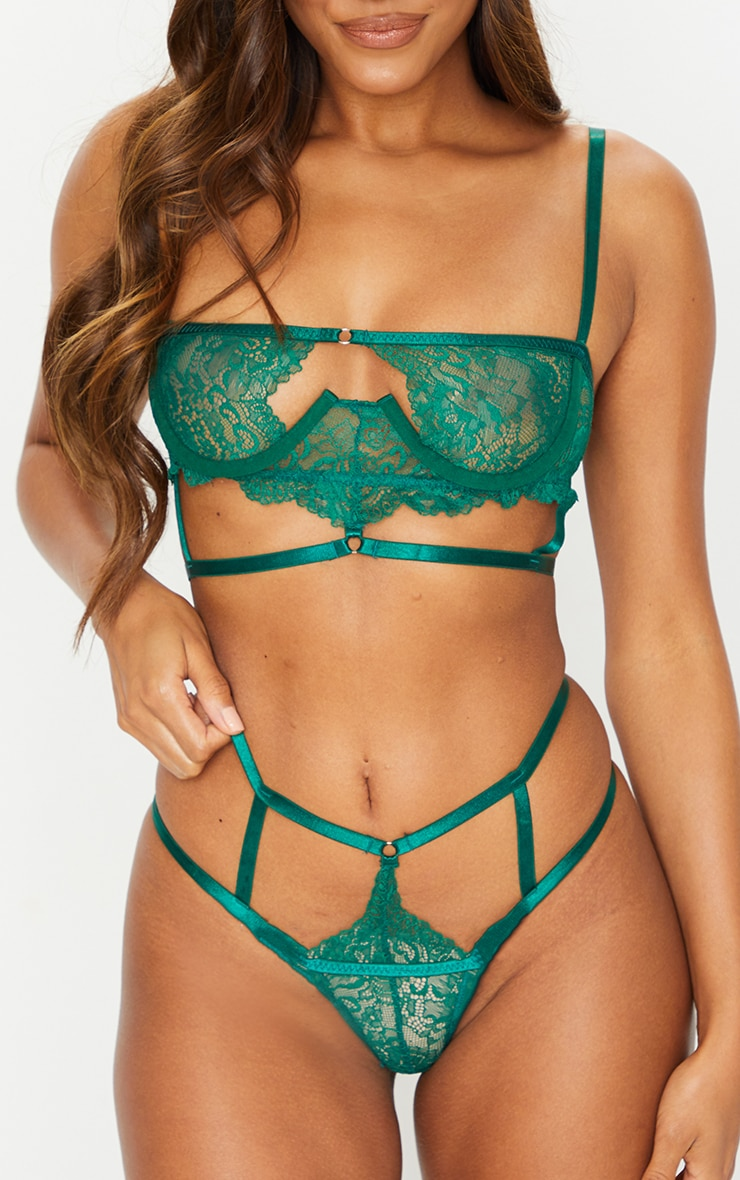 Green Cut Out Detail Strapping Underwired Lingerie Set 4