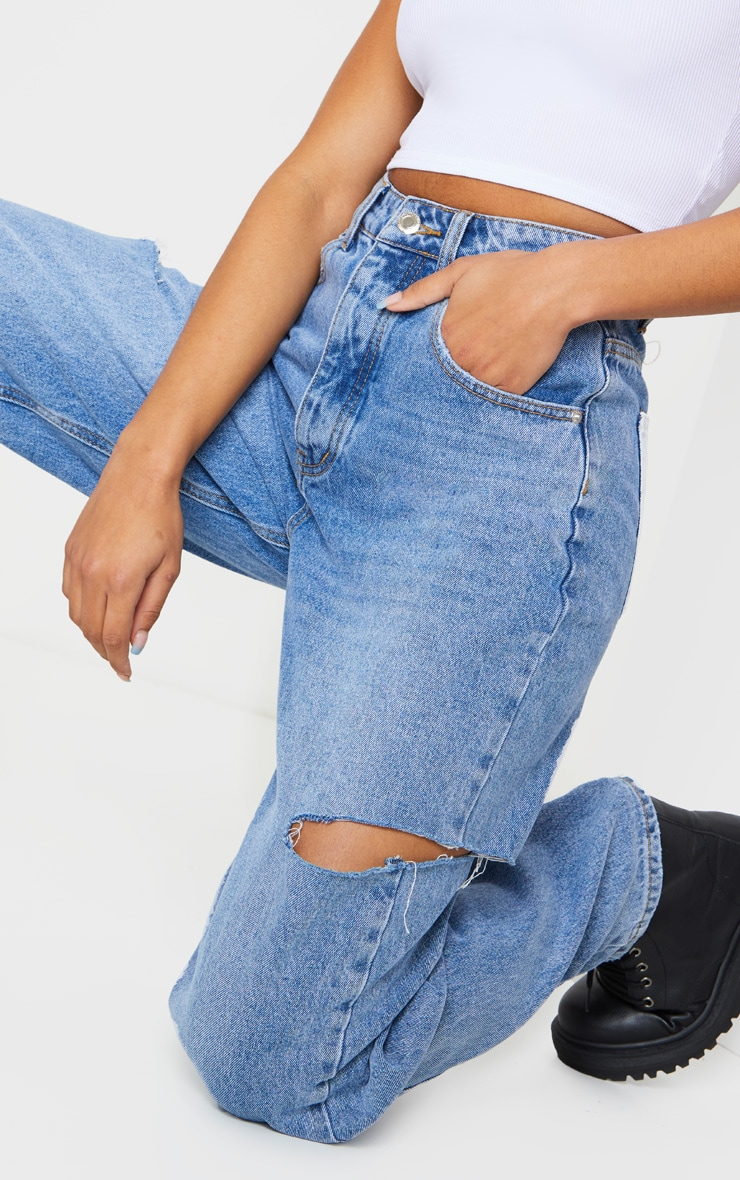 Mid Wash Thigh Split Baggy Boyfriend Jeans 4