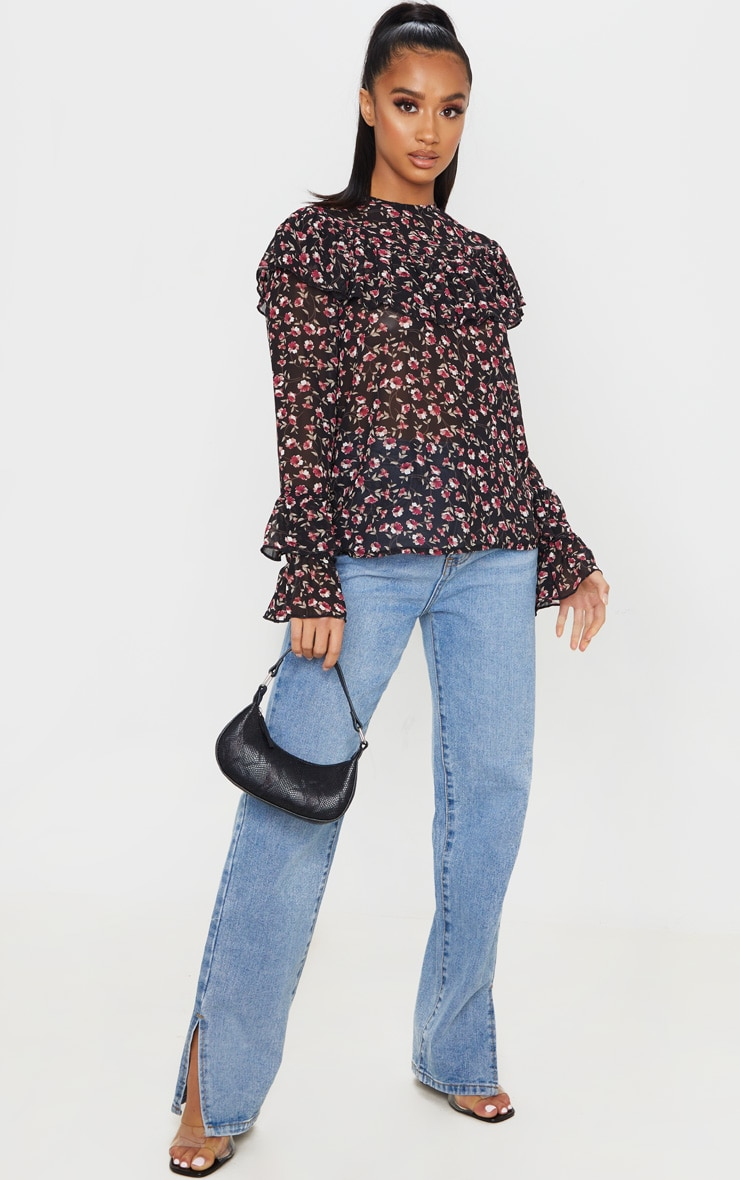 Petite Black Floral Frill Detail Long Sleeve Blouse 4
