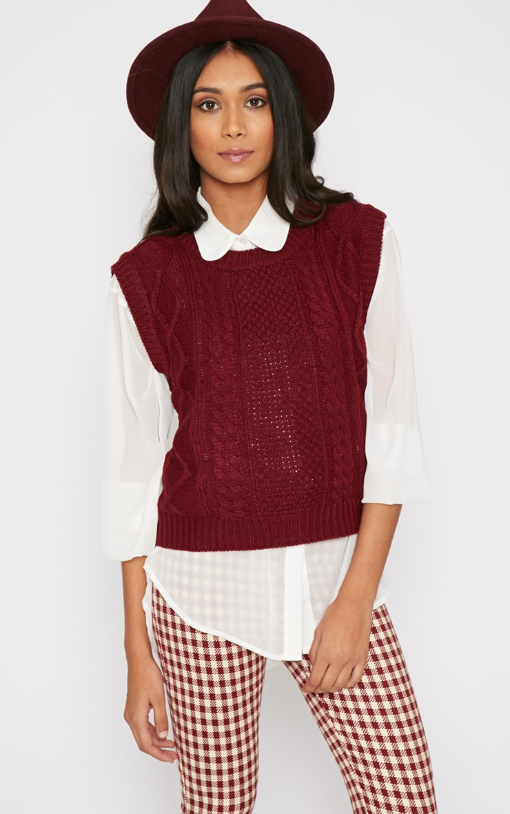 Cher Maroon Knitted Sleeveless Jumper  4