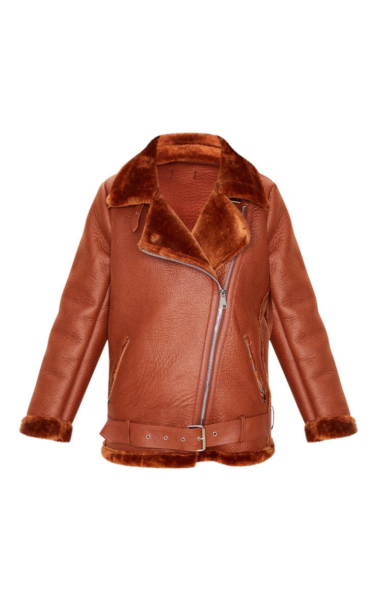 Tan PU Oversized Aviator Jacket 3